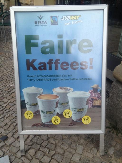 Subway Schild Fairer Kaffee
