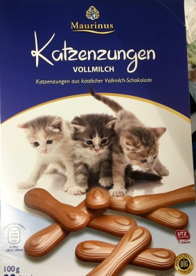 Katzenzungen von Maurinus (wird angeblich von Ludwig-Schokolade hergestellt) aus Vollmilchschokolade (gefunden bei ALDI Nord)