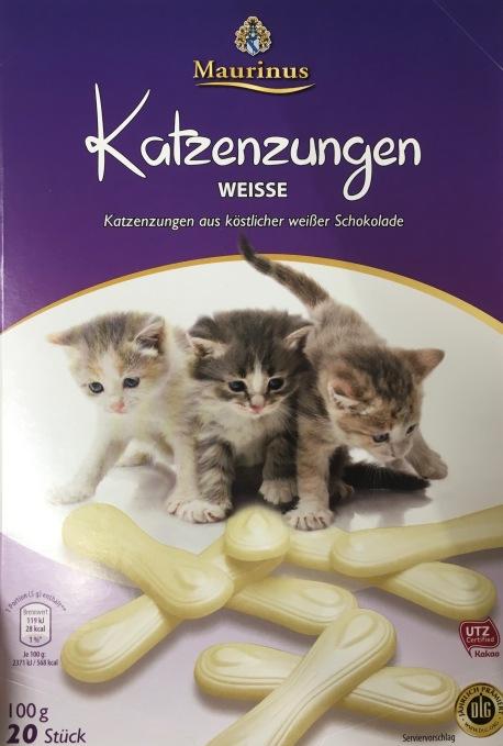 Katzenzungen von Maurinus aus weißer Schokolade (gefunden bei ALDI Nord)
