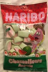 Haribo Chamallos mit Wassermelonengeschmack (Italien): wirklich scheußllich, penetrant künstlich im Geschmack.