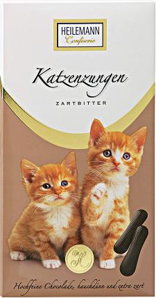 Katzenzungen aus Zartbitter-Schokolade von der Confiserie Heilemann