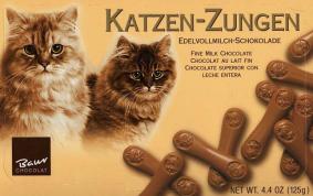 Katzenzungen aus Edelvollmichschokolade von Baur Chocolat.