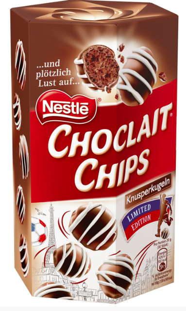 Nestlés Choclait Chips als Knusperkugeln Black & White