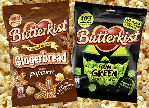 Butterkist Lebkuchen und Butterkist Grimmig grünes Popcorn