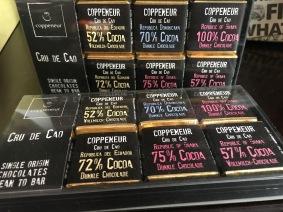 Schokolade von Coppeneur mit bis zu 72% Kakao.