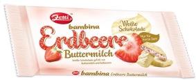 Zettis Schokoladentafel bambina mit der Geschmacksrichtung Erdbeer-Buttermilch.