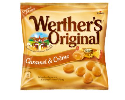Werther's Original Caramel & Creme: Schön mit dem Idioten-Apostroph - oder sollte man es Englisch aussprechen: Wörthörs...?!
