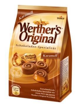 """Das Bonbonsprogramm von Werther's ist inzwischen so umfangreich und komplex geworden, dass Storck auf unter http://www.werthers-original.de eine Art """"Karamell-Berater"""" eingerichtet hat. Mein Favorit ist Werther's Original Schokolade-Karamell mit flüssigem Karamellkern."""