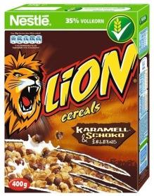 Nestlés Lion Frühstückszerealien enthalten natürlich auch Karamell, deshalb seien sie hier der Vollständigkeit halber aufgeführt.