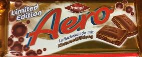Aero Luftschokolade von Trumpf wird saisonal auch mit Karamell angeboten.