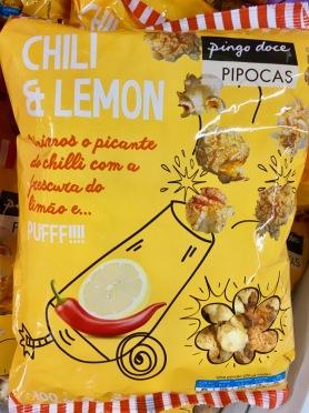 Popcorn von Pingo Doce / Pipocas mit Chili- und Zitronengeschmack - aus Portugal.