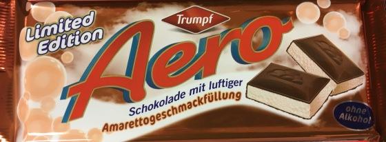 Aero Luftschokolade der Marke Trumpf von Ludwig/Krüger mit Amarettogeschmack.