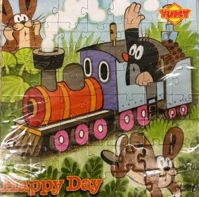 YUMY Happy Day: Schokolade mit einer Verpackung als Puzzle mit dem Kleinen Maulwurf als Motiv (gefunden in Tschechien).