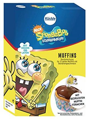 Auch eine Spongebob-Lizenz von Küchle gekauft und verwendet sie für die Oblaten-Dekoration in einer Muffin-Backmischung.