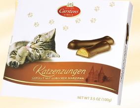 Katzenzungen aus Marzipan vom Marzipanspezialisten Carstens aus Lübeck.