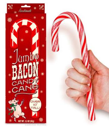 Wunderschönes Dekorationsobjekt für den Weihnachtsbaum: Eine Riesenzuckerstange mit Schinkengeschmack. Das wird eine Überraschung, wenn der erste daran leckt...
