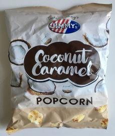 """Jimmy's aus England kennen Popcorn-Liebhaber für das tolle Lizenzprodukt """"Tabasco-Popcorn"""". Jetzt bringen Sie auch Erdbeer-, Paprika- und Coconut-Caramel-Popcorn auf den Markt. Letzteres habe ich probiert, war ziemlich, ziemlich fettig muss ich ehrlich sagen und dank Karamellzusatz auch sehr süß."""