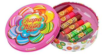 Schmuckdose mit verschiedenen ChupaChups-Lippenstiften.