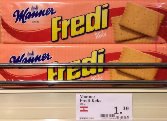 """Nicht neu, aber für mich ungewöhnlich: Die österreichischen Butterkekse von Manner heißen """"Fredi""""."""