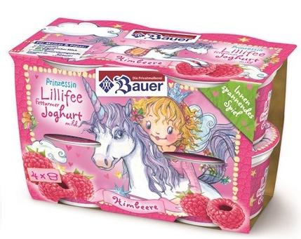Kein Einhorn, sondern die Comicfigur Prinzessin Lillefee ist das zentrale Testimonial dieses Joghurts von Bauer. Aber immerhin reitet die Prinzessin auf einem Einhorn und deshalb darf das Produkt hier mitaufgeführt werden.