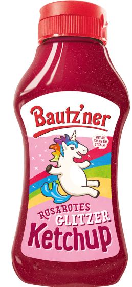 Tatsächlich macht das Einhorn auch vor Ketchup nicht halt: Bautz'ner hat Ketchup mit Feenstaub (glänzenden Partikeln) heraus gebracht und natürlich ein Einhorn darauf abgebildet.