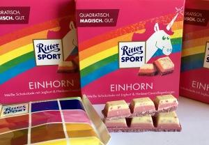 Ritter Sport Schokolade mit Einhorn-Geschmack