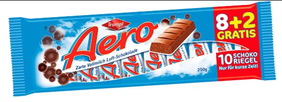 Trumpf Aero Luftschokolade Vollmilch, 10er-Riegel-Großpackung