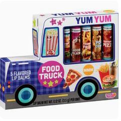 Und schön das Set aus allen salzig-fettigen Lippenstift-Varianten, der Food Truck! Bravo für diese eklige Idee!